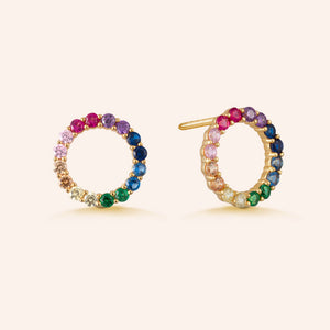 """Journey"" 1.0CTW Pave Open Circle Rainbow Stud Earrings - Gold Vermeil over Sterling Silver"