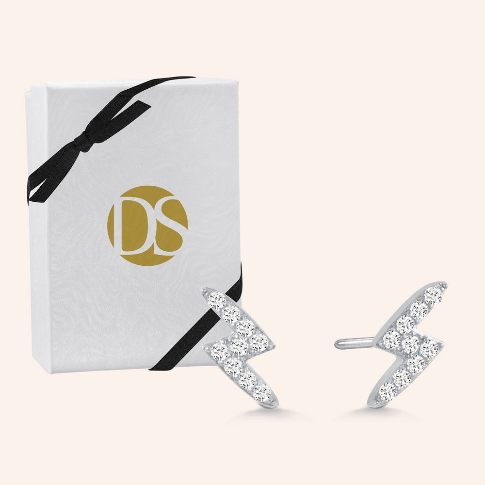 """Keep Shining"" 0.8CTW Pave Lightning Stud Earrings - Sterling Silver / Gold Vermeil"