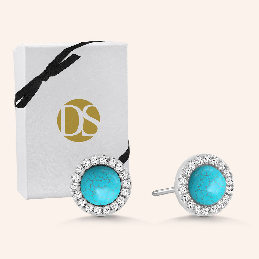 """Little Moment's"" 0.8CTW Pave and Turquoise Halo Stud Earrings"