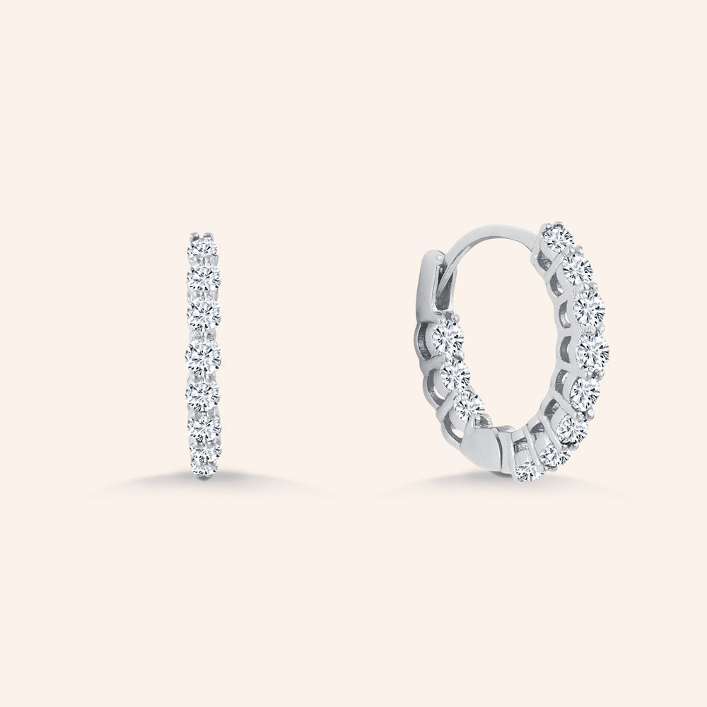 """1 Row Mini"" 1.0ctw  Inside-outside Huggie Earrings - Sterling Silver"