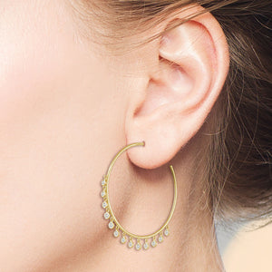 """Summer Love"" 1.0ctw  Dangles Hoop Earrings"