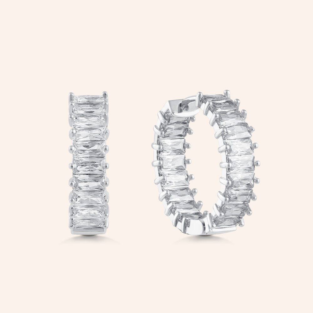 """The Oasis"" 5.5CTW Inside-Outside Hoop Earrings - Silver"
