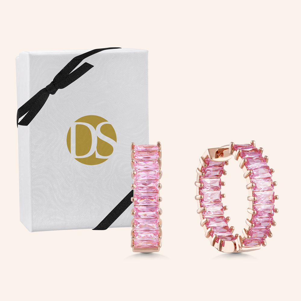 """The Oasis"" 5.5CTW Rose Quartz Inside-Outside Hoop Earrings - Rose Gold"