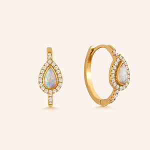 """Opaline"" 0.9CTW Opal Huggie Earrings"