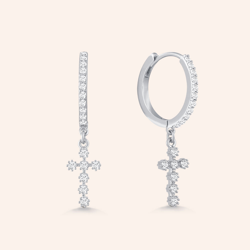 """Stand with Me"" 0.9CTW Cross Huggie Earrings"