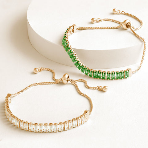 """Stellar Duo"" 12.5CTW Clear & Emerald Green Baguette Cut Tennis Pull-Tie Bracelet Set - Gold"