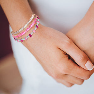 """Stellar Duo"" 12.5CTW Clear & Fuchsia Quartz Baguette Cut Tennis Pull-Tie Bracelet Set - Rose Gold"