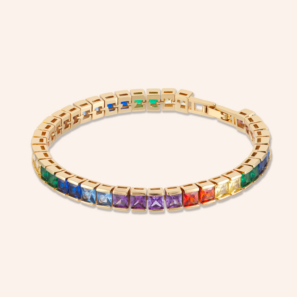 """In the WOW"" 19CTW Rainbow Princess Cut Tennis Bracelet - Includes Extender - Gold"