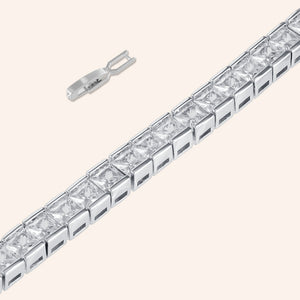 """In the WOW"" 19CTW  Princess Cut Tennis Bracelet - Includes Extender - Silver"