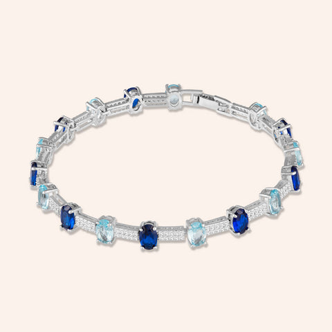 """Grand Opening"" 7.5CTW Sapphire Blue Oval Cut Tennis Bracelet - Includes Extender - Silver"