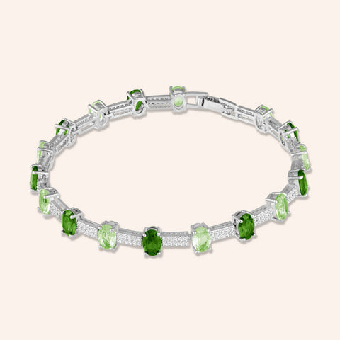 """Grand Opening""7.5CTW Emerald Green Oval Cut Tennis Bracelet - Includes Extender - Silver"