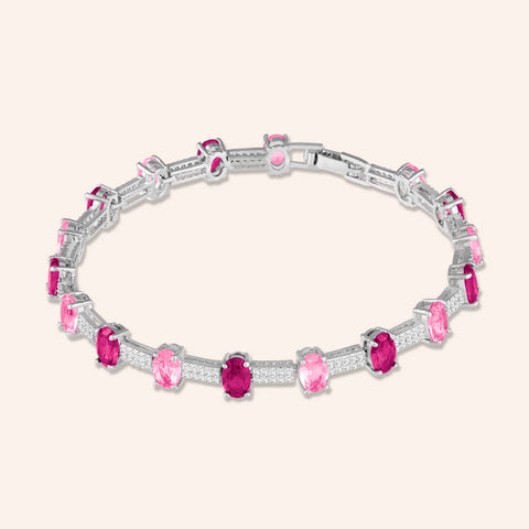 """Grand Opening"" 7.5CTW Fuchsia Quartz Oval Cut Tennis Bracelet - Includes Extender - Silver"