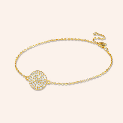 """Full Moon"" 0.8CTW Pave Circle Bracelet - Gold Vermeil over Sterling Silver"