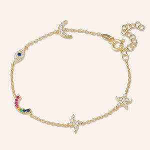 """All I Need"" 0.6CTW Pave Multi Charms Station Bracelet - Gold"
