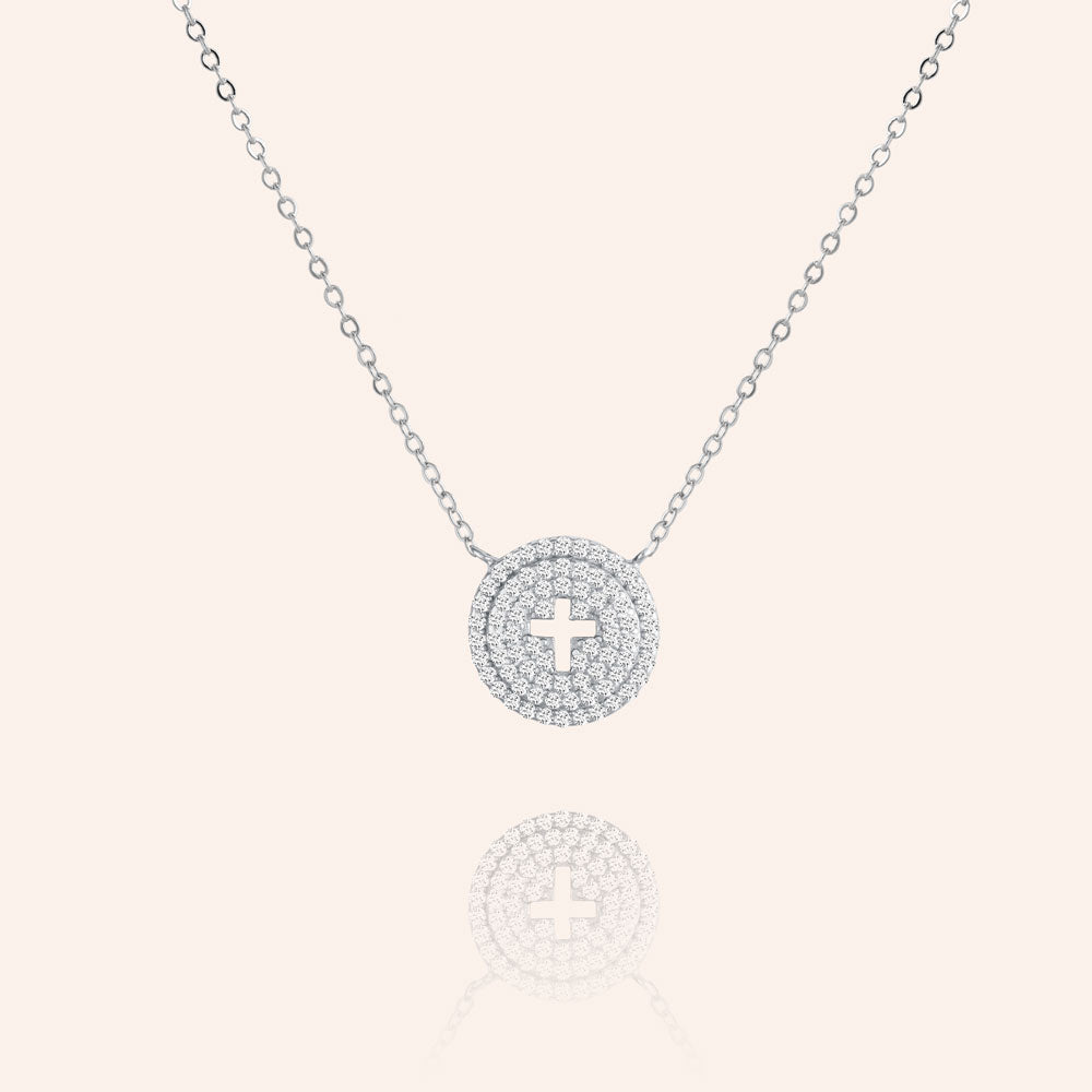 """To Have and to Hold"" 1.0CTW Pave Circle Cut-out Cross Necklace- Sterling Silver / Gold Vermeil"