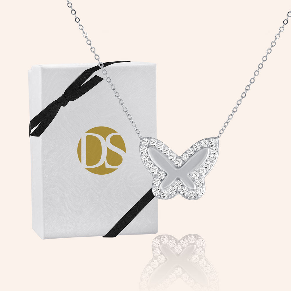 """Bella"" 0.5CTW Pave Butterfly Necklace- Sterling Silver / Gold Vermeil"