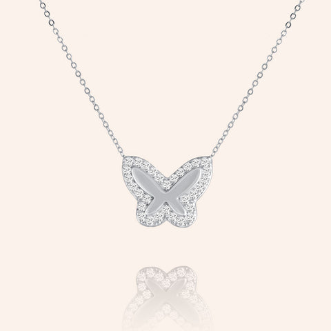 """Bella"" 0.5CTW Pave Butterfly Necklace- Sterling Silver"