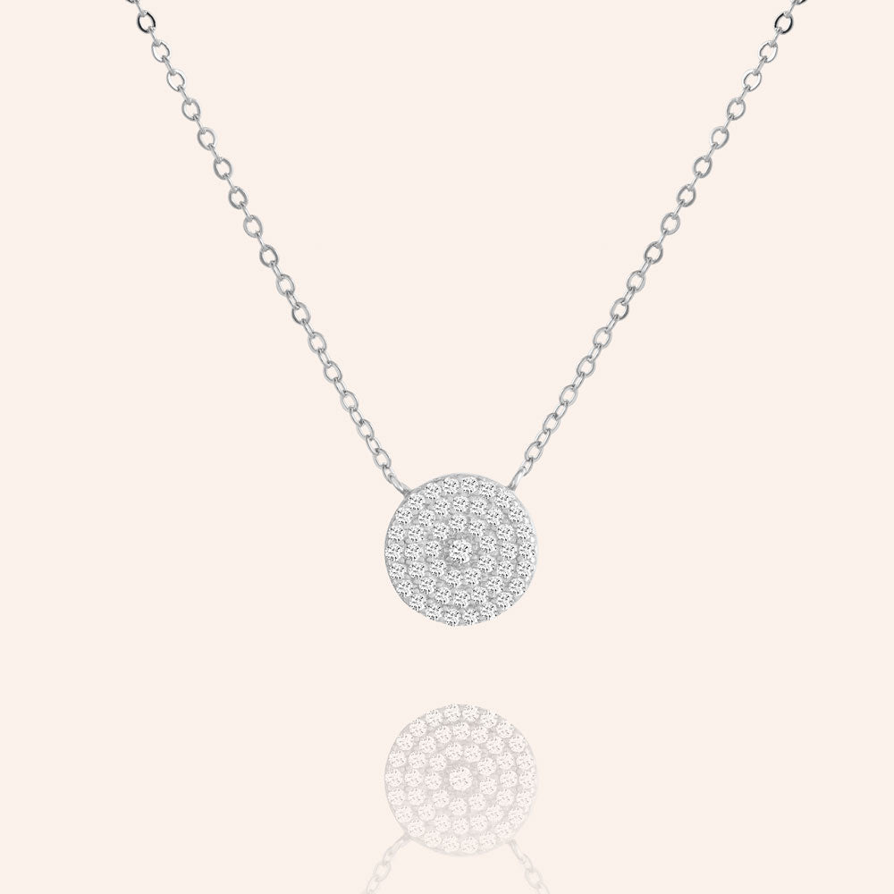 """Full Moon"" 1.0CTW Pave Circle Necklace - Sterling Silver / Gold Vermeil"