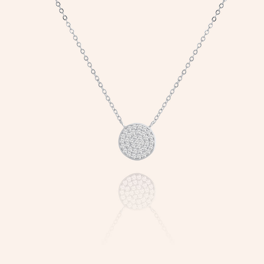 """Full Moon"" 0.8CTW Pave Circle Necklace - Sterling Silver / Gold Vermeil"