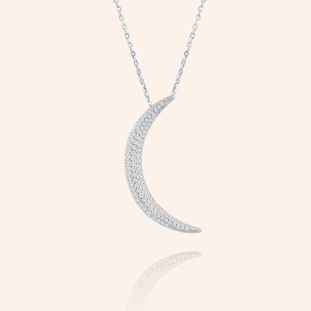 """Luna"" 1.7CTW Pave Moon Necklace - Sterling Silver / Gold Vermeil"