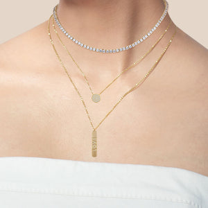 """Falling for You"" 0.7CTW Pave Love Plate Necklace - Gold"