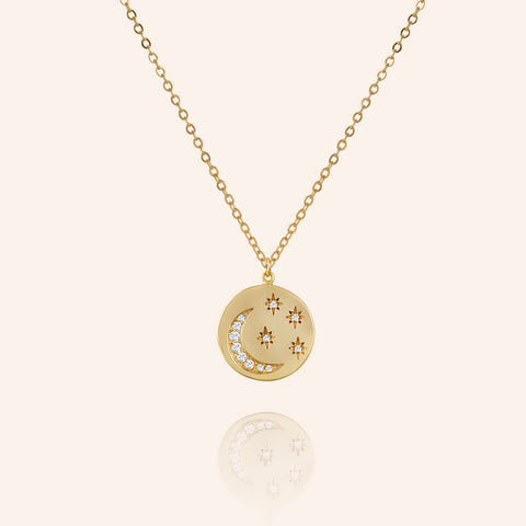 """Better Together"" 0.5CTW Pave Moon & Stars  Pendant Necklace - Gold"