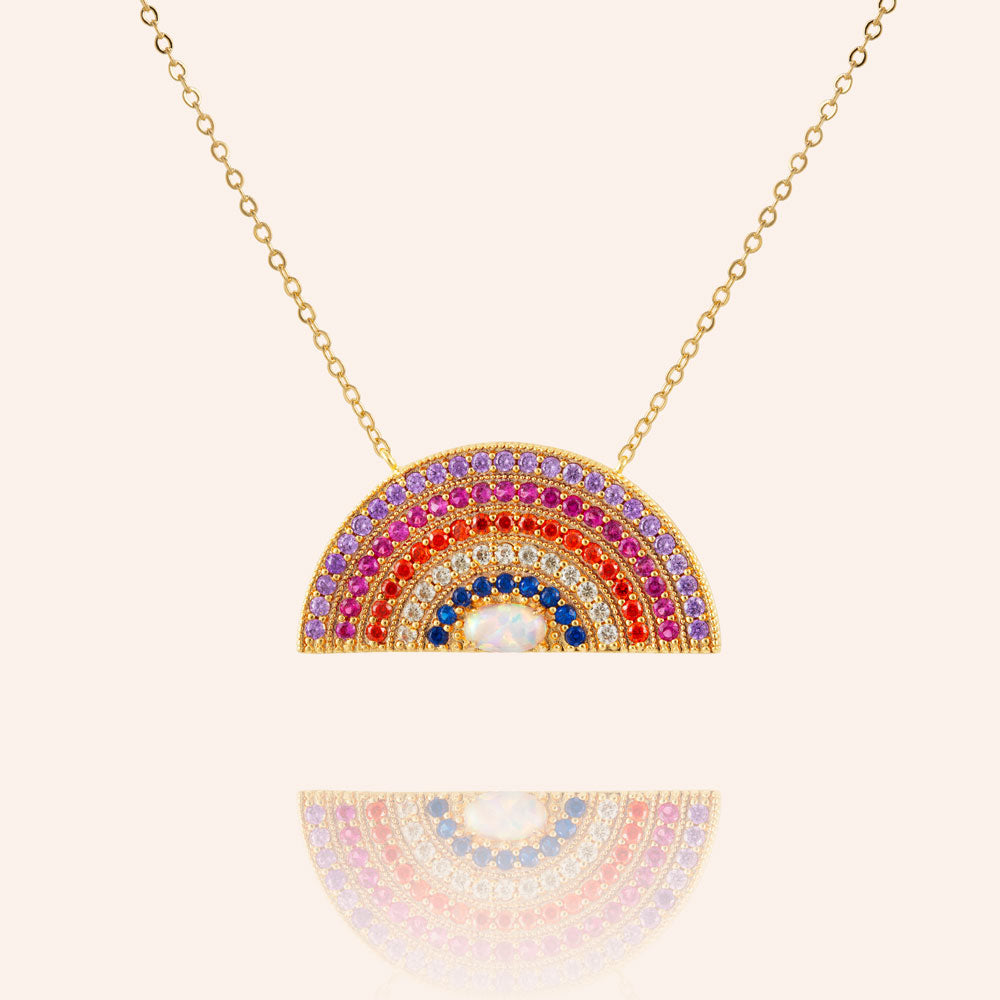 """Inner Beauty"" 2.3CTW Rainbow Pave Pendant Necklace - Gold"