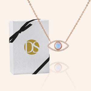 """Eye See you"" 0.9CTW Pave & Opal Eye Pendant Necklace - Sterling Silver / Rose Vermeil"