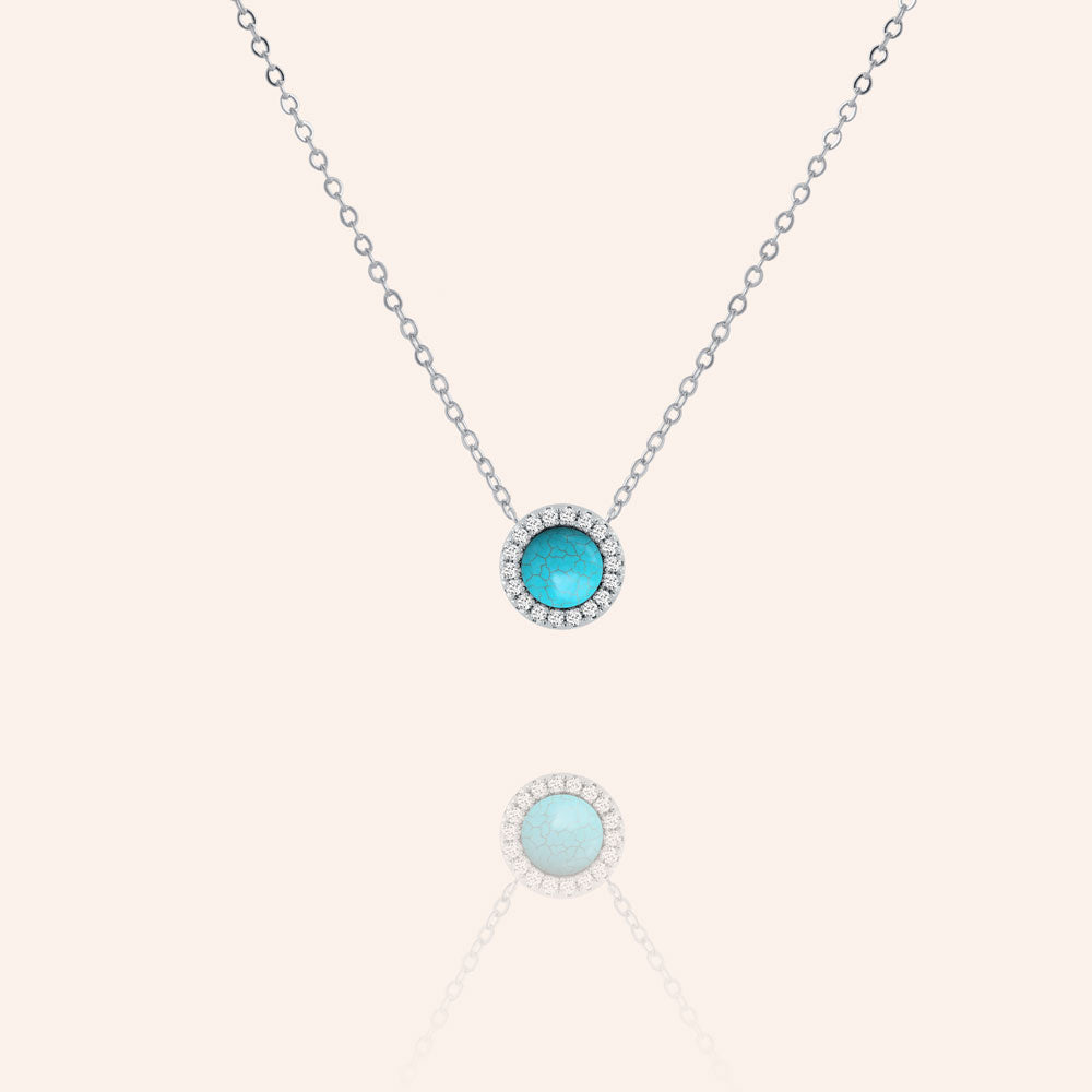 """Little Moment's"" 0.6CTW Pave & Turquoise Halo Pendant Necklace"