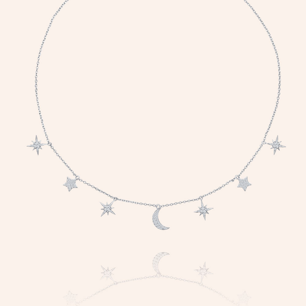 """Celestial"" 1.2CTW  Pave Moon & Stars Charms Adjustable Choker Necklace"