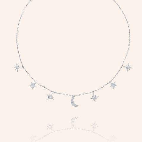 """Celestial"" 1.2CTW  Pave Moon & Stars Charms Adjustable Choker Necklace - Silver"