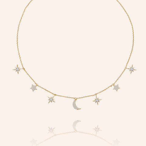 """Celestial"" 1.2CTW  Pave Moon & Stars Charms Adjustable Choker Necklace - Gold"
