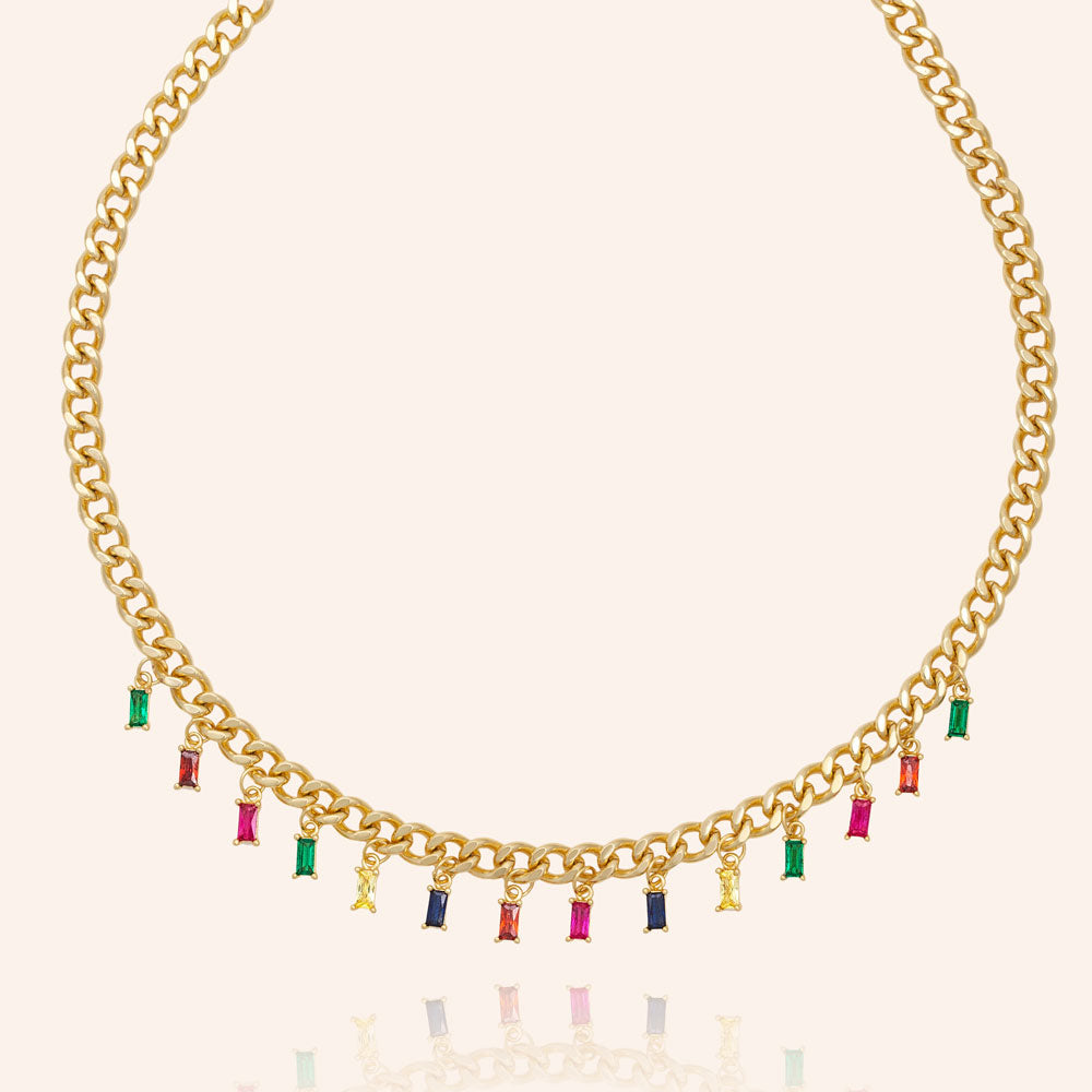 """Chloe"" 9.2CTW Rainbow Baguette Cut Dangles Adjustable Choker Necklace - Gold"
