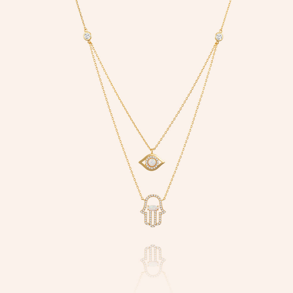 """Keep Me Safe"" 1.0CTW Pave & Opal Evil Aye and Hand Duo Layering Necklace - Gold"