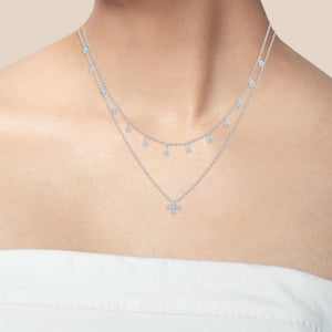 """Two Become One"" 1.8CTW Pave Drops Duo Layering Necklace"