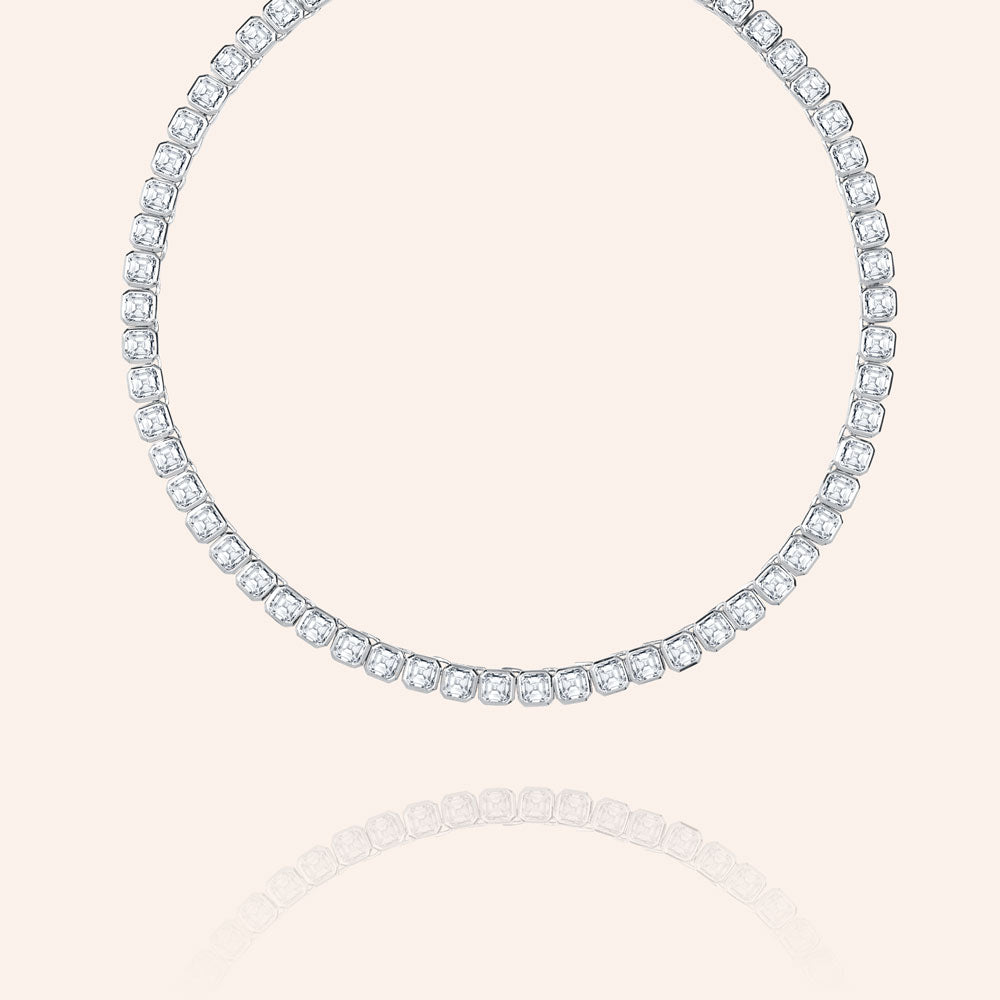 """Spotlight"" 24CTW Ascher Cut Tennis Necklace - Silver"