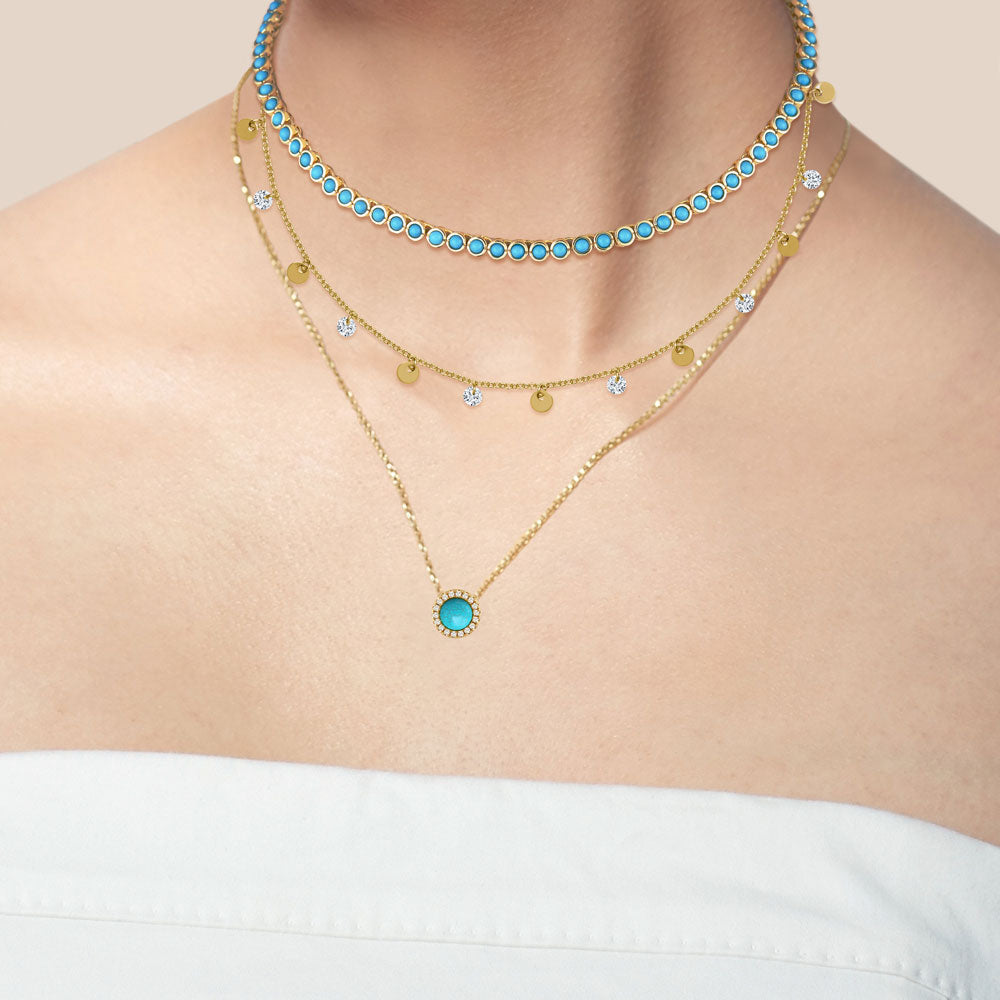 """Milestone"" Round Cut Bezel Set Turquoise Tennis Necklace - Gold"