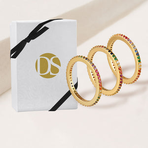 """Eternal Trio"" 3.3CTW Rainbow Round Cut  Eternity Bands Ring Set of 3- Gold"