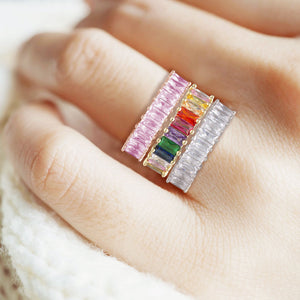 """The Oasis"" 6.9CTW Rainbow Baguette Cut Eternity Band Ring- Gold"