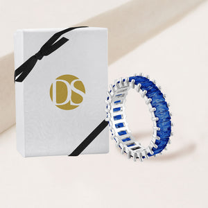 """The Oasis"" 6.9CTW Sapphire Blue Baguette Cut Eternity Band Ring- Silver"