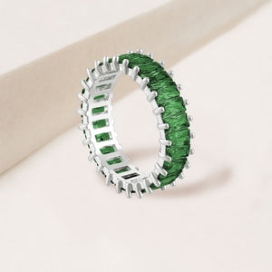 """The Oasis"" 6.9CTW Emerald Green Baguette Cut Eternity Band Ring- Silver"