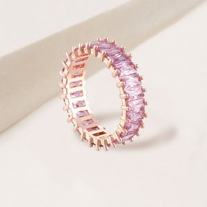 """The Oasis"" 6.9CTW Rose Quartz Baguette Cut Eternity Band Ring- Rose Gold"