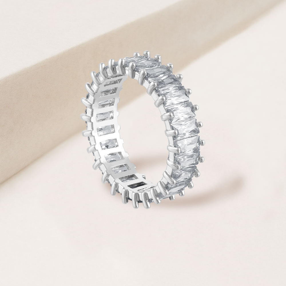 """The Oasis"" 6.9CTW Baguette Cut Eternity Band Ring- Silver"