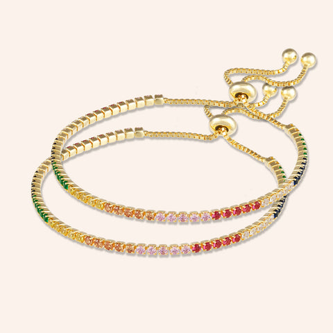 """Time after Time"" 0.9CTW Rainbow Tennis Pull-Tie Bracelet - GoldCopy of ""Always with Me"" 0.5CTW Rainbow Pave Delicate ID Bracelet - Gold"