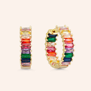 """The Oasis"" 5.5CTW Rainbow Inside-Outside Hoop Earrings - Gold"