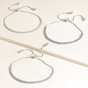"""Time After Time"" Set of Three 1.35CTW Tennis Pull-Tie Bracelets - Silver"