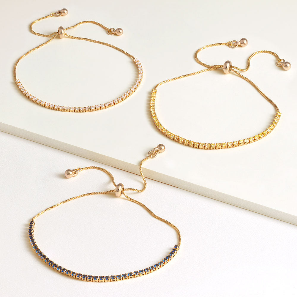 """Time After Time"" Set of Three 1.35CTW Tennis Pull-Tie Bracelets - Gold"