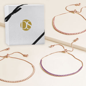 """Time After Time"" Set of Three 1.35CTW Tennis Pull-Tie Bracelets - Rose Gold"