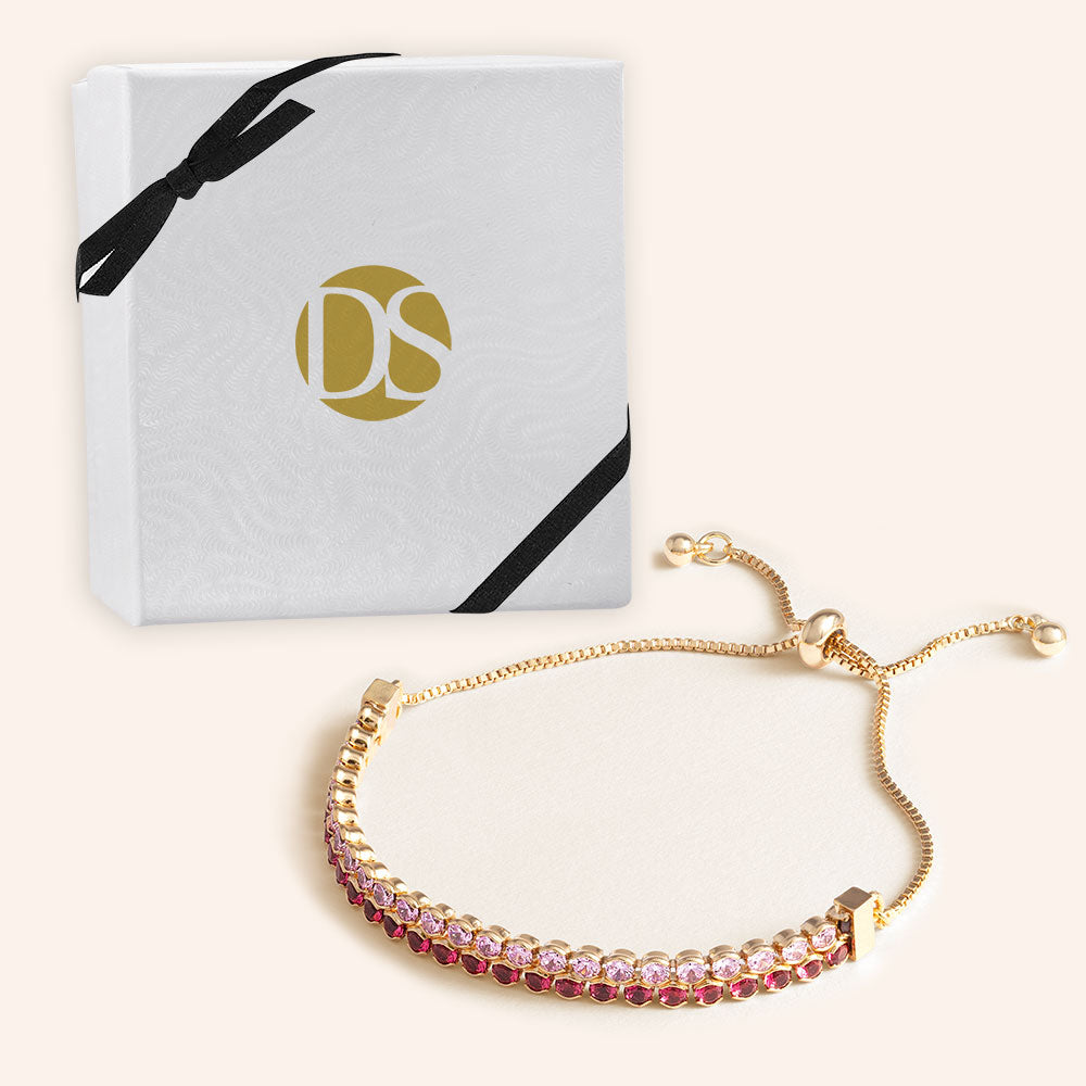 """Double Take"" 12.5CTW Two Tone Round Cut Tennis Pull-Tie Bracelet - Gold"