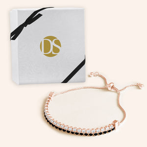 """Double Take"" 12.5CTW Two Tone Round Cut Tennis Pull-Tie Bracelet - Rose Gold"
